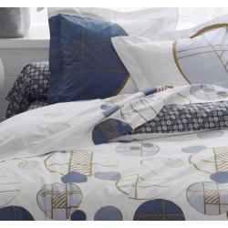 ROMEO Bleu Taie d'oreiller et de traversin Percale de coton - Tradilinge