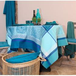 CHAMARET Bleu Nappe Jacquard Polyester - Sud Etoffe
