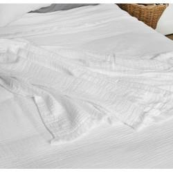 BREHAT Dessus de lit et Plaid Gaze de coton Stonewhased - Toison d'Or