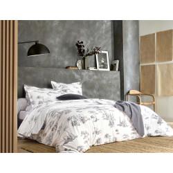 PROMENADE Graphite Parure de lit Percale de coton - Blanc des Vosges
