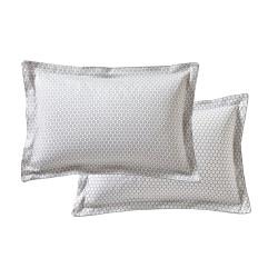 FAÏENCE Perle Taie d'oreiller et de traversin Satin de coton - Blanc des Vosges