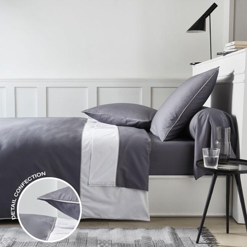 SYDNEY Gris Parure de drap en Percale - Linge Mat