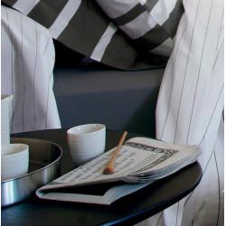 GRAND LARGE Acier Drap housse Percale de coton coloris Acier - Blanc des Vosges