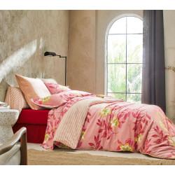 TAHITI Framboise Parure de lit Satin de coton - Blanc des Vosges