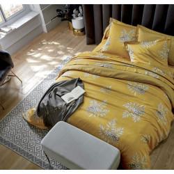 HIBOUX Curry Drap housse Satin de coton uni coloris Miel - Blanc des Vosges