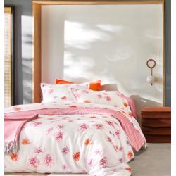 DAHLIAS Pink Drap housse Satin de coton uni coloris Sanguine - Blanc des Vosges