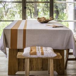 JASON Terre cuite Nappe et serviette 100% coton fil teint - Vent du sud