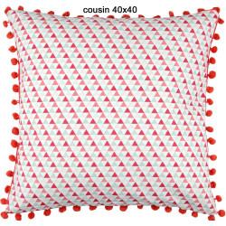 Isocèle rouge coussins en 40x40 et 30x50 100% coton - Stof
