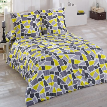 bianca jaune parure compl te literie 140 fil blanc linge mat. Black Bedroom Furniture Sets. Home Design Ideas