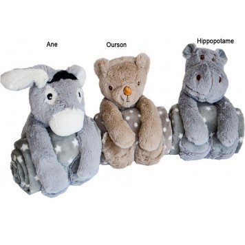 SET PELUCHE + PLAID - Fil Blanc