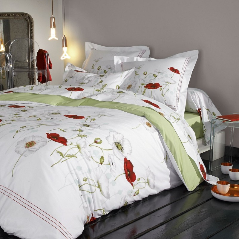 seduction drap housse vert percale de coton de tradilinge linge mat. Black Bedroom Furniture Sets. Home Design Ideas