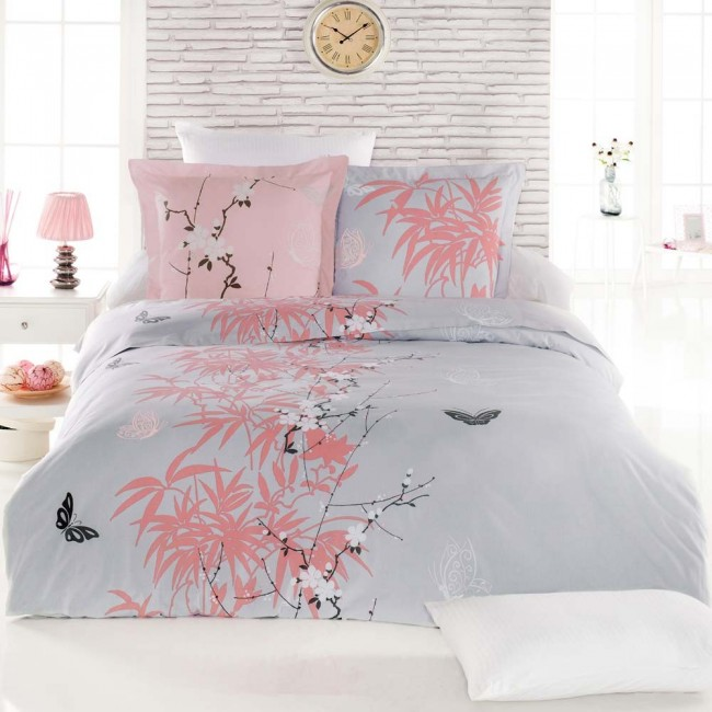 parure de drap 3 pi ces literie 160 flore corail mat 100 coton. Black Bedroom Furniture Sets. Home Design Ideas