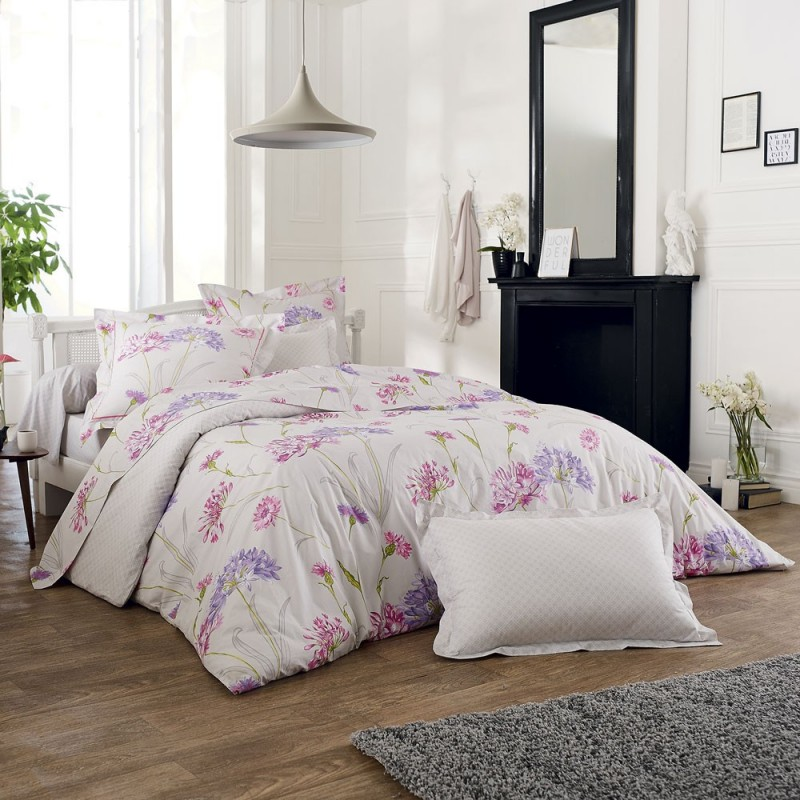 caprice drap housse imprim en percale de coton de tradilinge linge mat. Black Bedroom Furniture Sets. Home Design Ideas