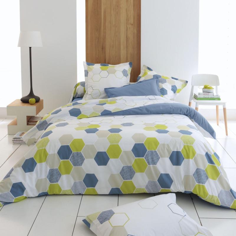 tommy orage drap plat pur coton imprim de tradilinge linge mat. Black Bedroom Furniture Sets. Home Design Ideas