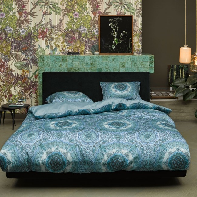 cadiz blue parure de lit satin de coton de essenza linge mat. Black Bedroom Furniture Sets. Home Design Ideas