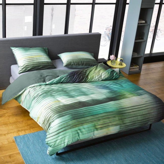 fais green parure de lit satin de coton de essenza linge mat. Black Bedroom Furniture Sets. Home Design Ideas