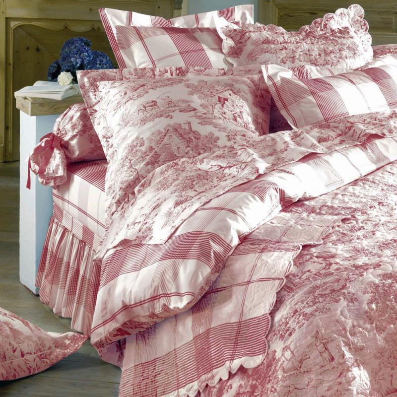 Pastorale rouge housse de couette de aude de balmy linge mat - Housse de couette toile de jouy rouge ...