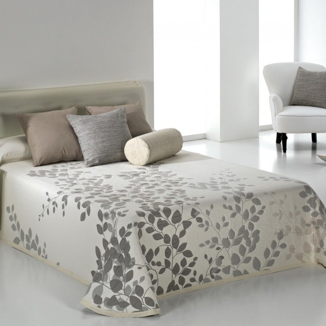 geisha gris couvre lit jacquard r versible de reig marti linge mat. Black Bedroom Furniture Sets. Home Design Ideas