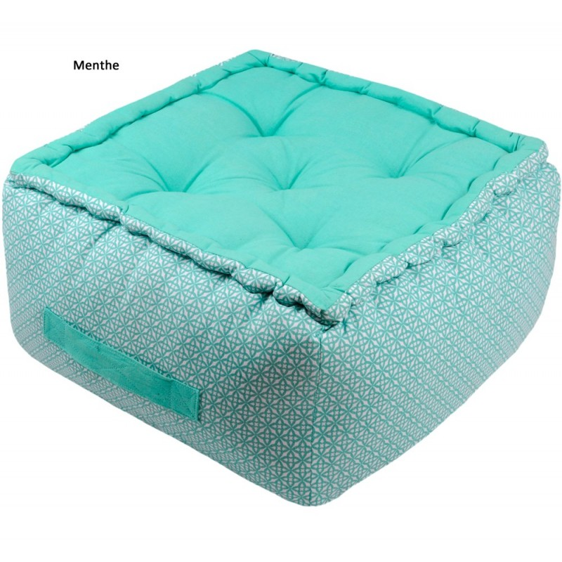 izzi pouf et coussin de sol matelass 100 coton stof linge mat. Black Bedroom Furniture Sets. Home Design Ideas