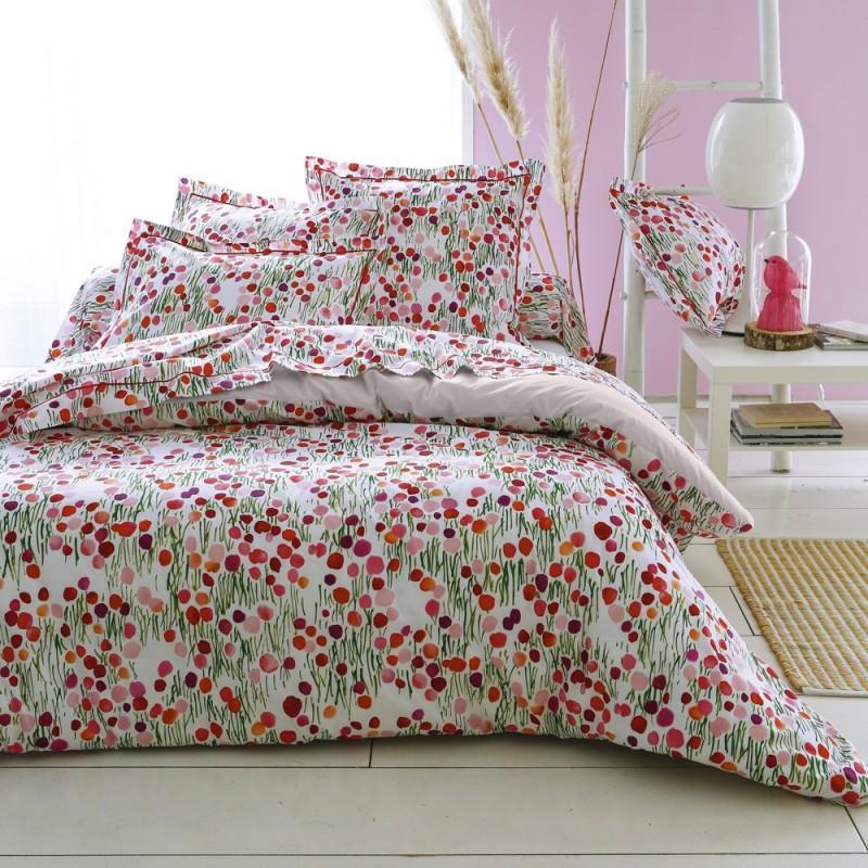parure de lit bagatelle rose de tradilinge en 57 fils cm2 linge mat. Black Bedroom Furniture Sets. Home Design Ideas