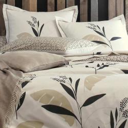 VALAURIS SABLE Taie d'oreiller en percale de coton - Blanc des Vosges