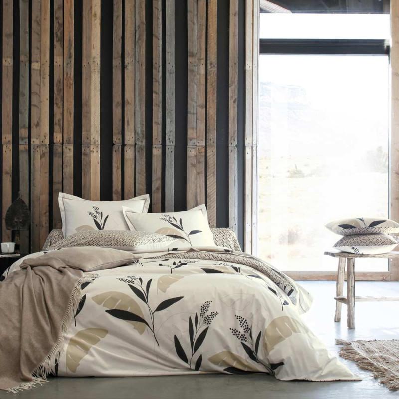 valauris sable drap housse percale blanc des vosges linge mat. Black Bedroom Furniture Sets. Home Design Ideas