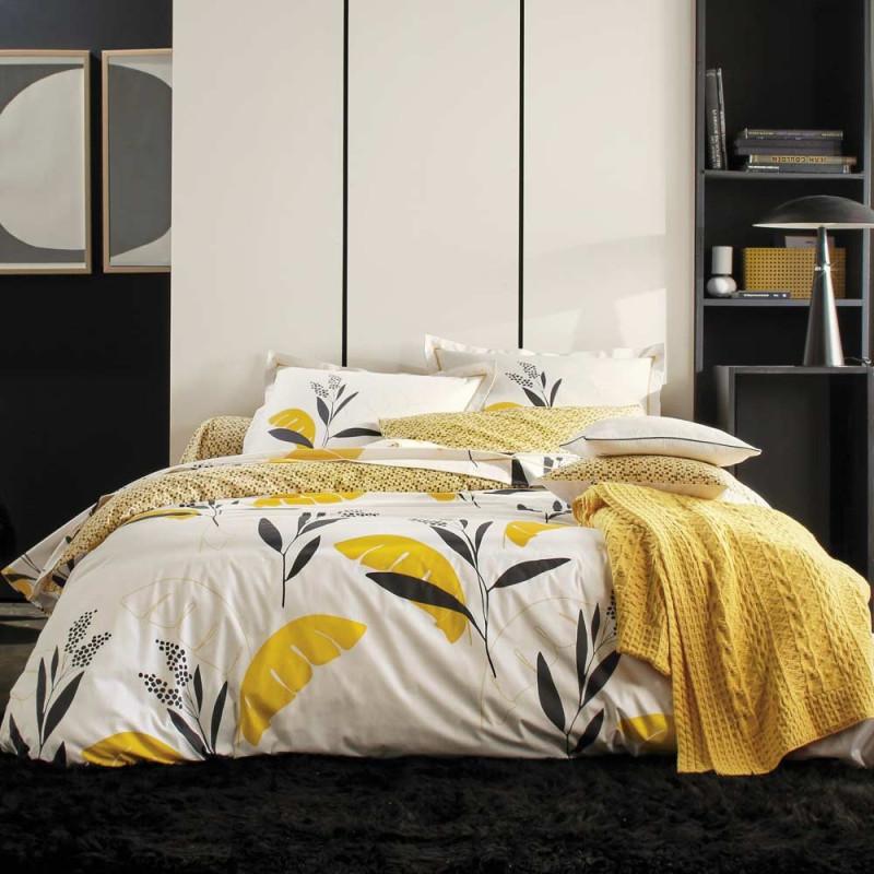 valauris bouton d 39 or housse de couette en percale blanc des vosges linge mat. Black Bedroom Furniture Sets. Home Design Ideas