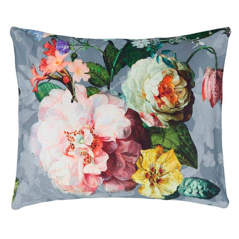 fleur blue taie d 39 oreiller satin de coton de essenza linge mat. Black Bedroom Furniture Sets. Home Design Ideas