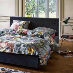 FLEUR BLUE Parure de lit en satin de coton - Essenza