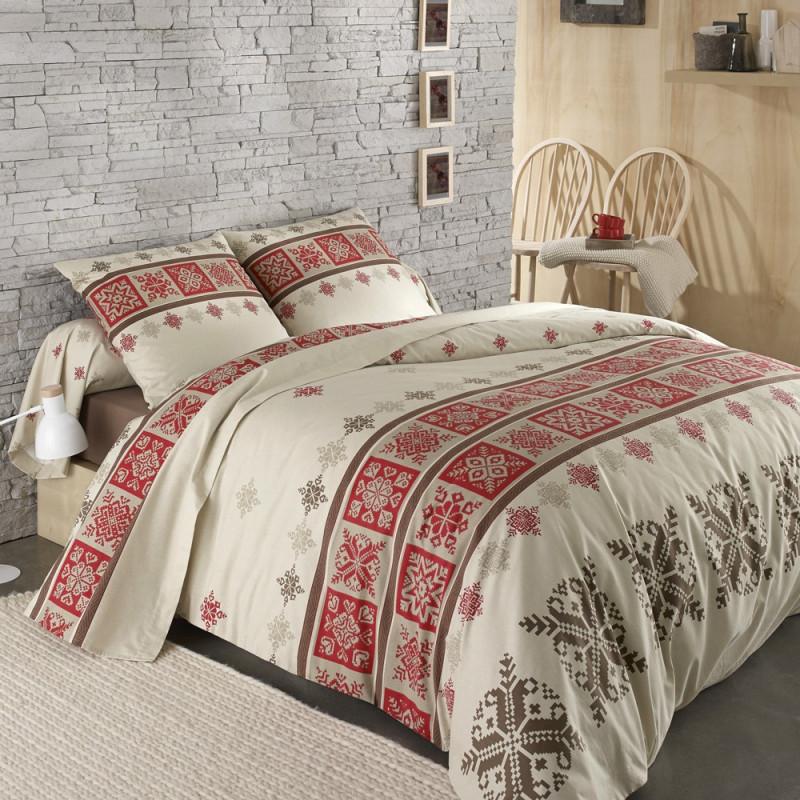 parure de lit flanelle cork rouge de tradilinge - linge mat