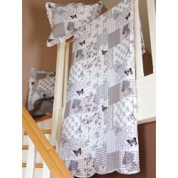 CHAMPS couvre lit réversible façon boutis avec taies d'oreillers - Stof