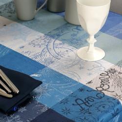 MILLE COULEURS BLEU PETROLE Nappe coton enduit - Garnier Thiebaut