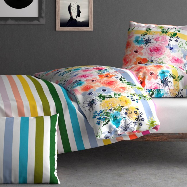 parure rainbow de inspiration par anne de sol ne en percale linge mat. Black Bedroom Furniture Sets. Home Design Ideas
