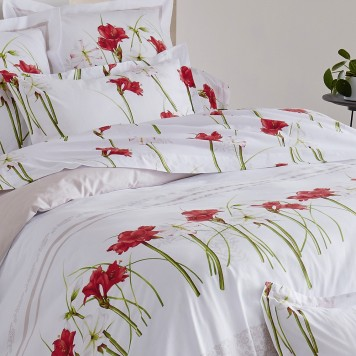 amaryllis drap plat tradilinge 100 coton linge mat. Black Bedroom Furniture Sets. Home Design Ideas