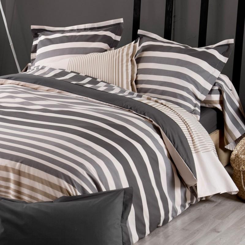 stripe ficelle drap plat percale de coton tradilinge linge mat. Black Bedroom Furniture Sets. Home Design Ideas