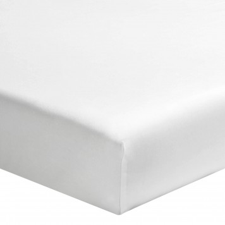 TAMA SONG Drap housse uni blanc Satin de coton - Essix