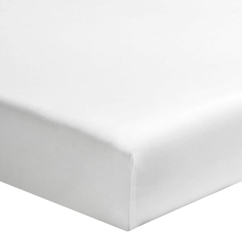 TAMA SONG Drap housse uni blanc en satin de coton - Essix - Linge Mat 657121f4546c