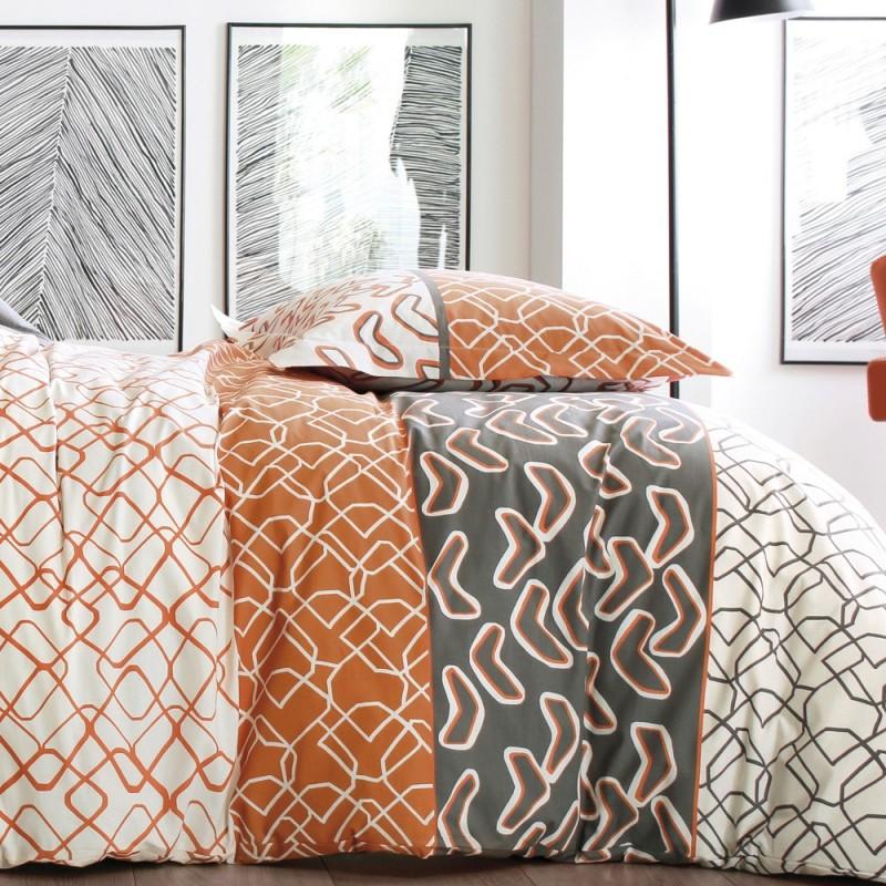 parure de lit variations orange de blanc des vosges linge mat. Black Bedroom Furniture Sets. Home Design Ideas