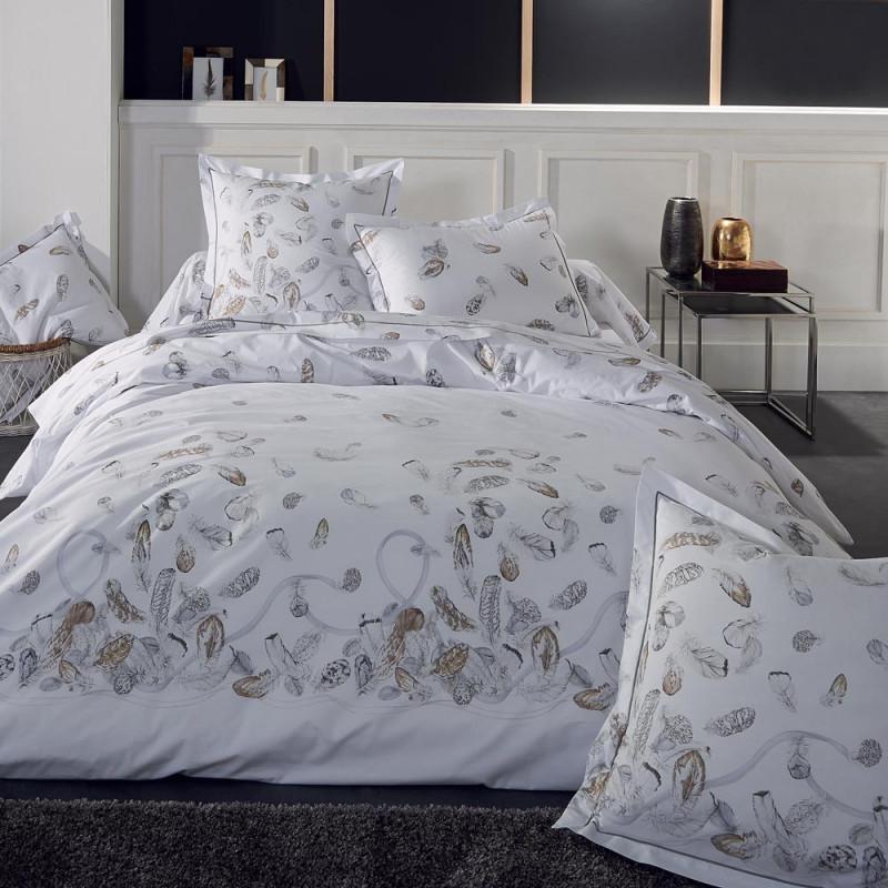 plumes parure de lit percale de coton tradilinge linge mat. Black Bedroom Furniture Sets. Home Design Ideas