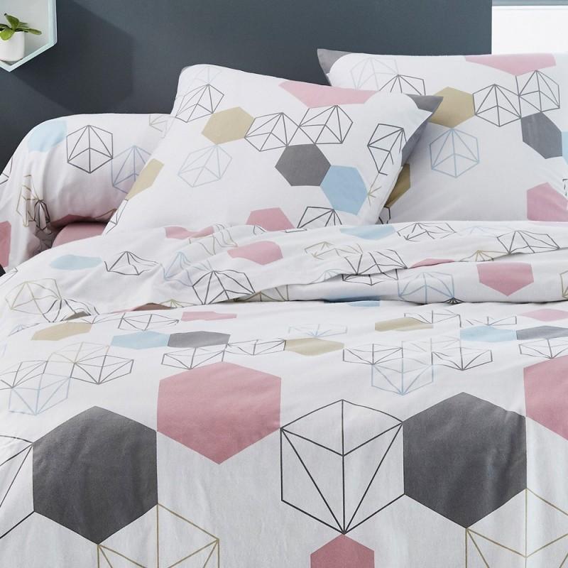 parure de drap lit 140 prismatic en flanelle tradilinge linge mat. Black Bedroom Furniture Sets. Home Design Ideas