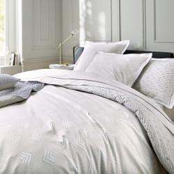TRIESTE Acier Parure de lit Percale de coton - Blanc des Vosges