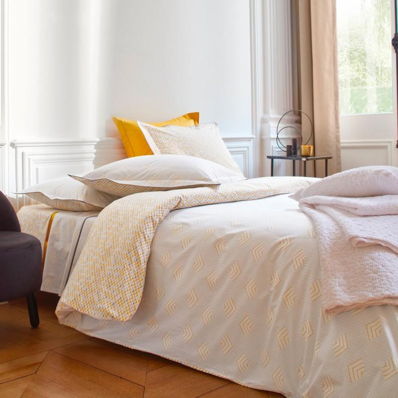 Trieste miel housse de couette percale blanc des vosges - Housse de couette en percale de coton ...