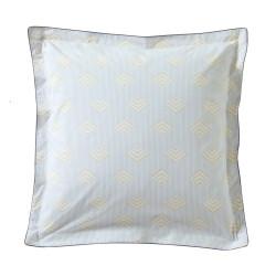 TRIESTE Miel Taie d'oreiller Percale de coton - Blanc des Vosges