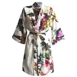 FLEUR Écru Kimono Satin 100 % coton - Essenza