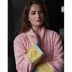 JACQUARD CHECK Pink Peignoir éponge velours - Pip Studio